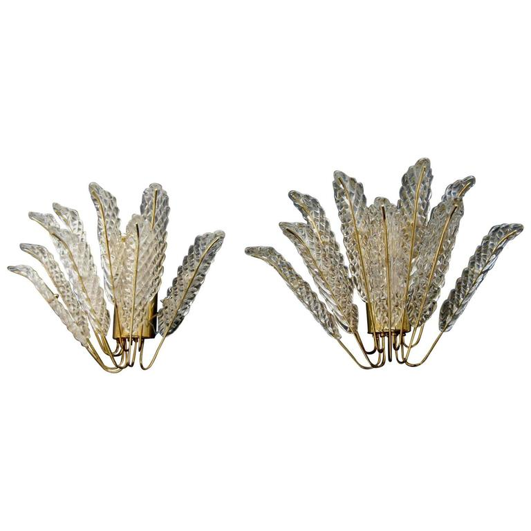 Pair of Murano Mazzega Wall Sconces For Sale