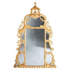 18th Century George II Chippendale Giltwood Overmantle Mirror