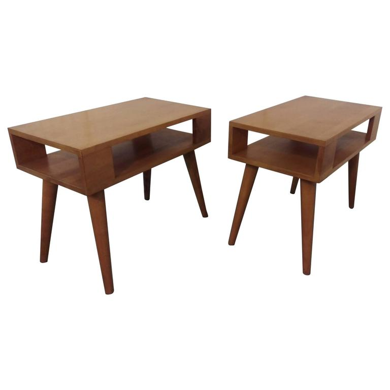 Pair of Russel Wright for Conant Ball End Tables or Nightstands; La Porte