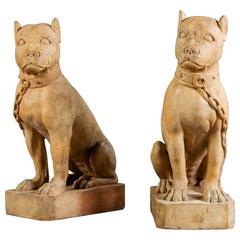 Pair of 19th Century Terracotta Dogs