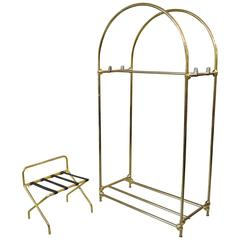 20th Century Parisian Hotel Furniture Coat Stand and Suitcases Support