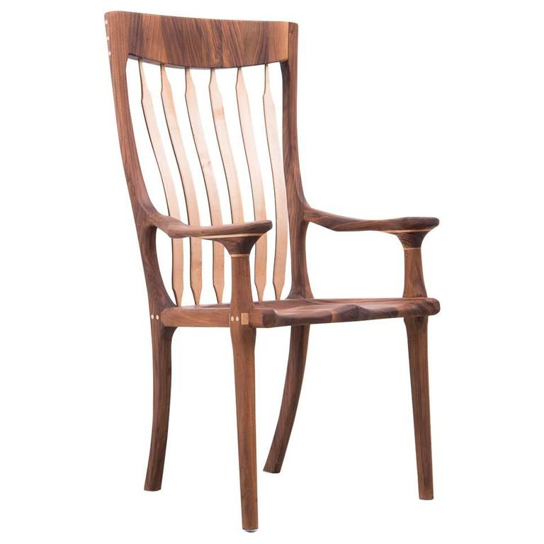Walnut and Maple Chair in Manner of Sam Maloof For Sale