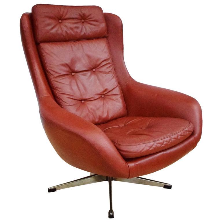 Mid Century Retro Danish Red Leather Swivel Lounge