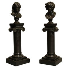 Pair of Antique Decorative Bronze Roman Busts on Columns