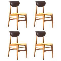 4 Italian Mid-Century Modern Light Wood Yellow Velvet Dining Chairs 1950s