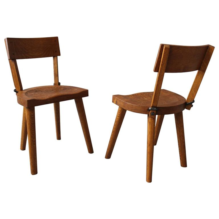 Rare Pair Of 1950s Oak Chairs By Atelier Marolles At 1stdibs