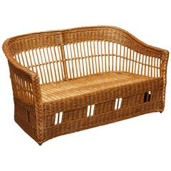 McGuire Rattan and Stick Wicker Settee