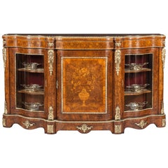 19th Century English Walnut Inlaid Floral Marquetry and Bronze Mounted Credenza