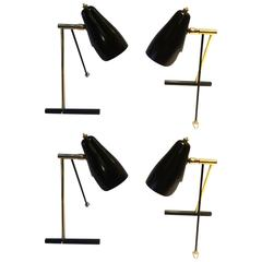 Four Small Table Lamps or Wall Lights by Stilnovo, Italy, 1950s