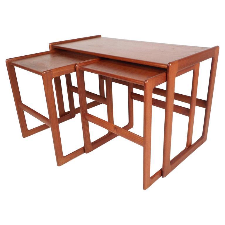 Set Of Mid Century Modern Danish Teak Nesting Tables For Sale