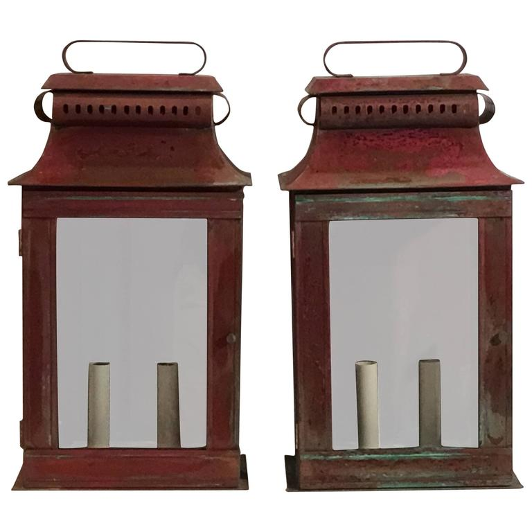 Pair of Copper Wall Lantern For Sale at 1stdibs