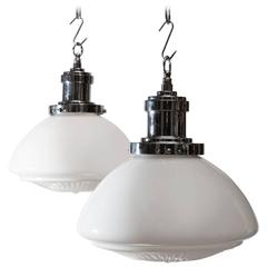 Pair of Victorian Milk Glass School Lights