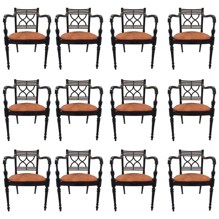 Baker Dining Chairs- 10 Side, Two Captains For Sale At 1stdibs