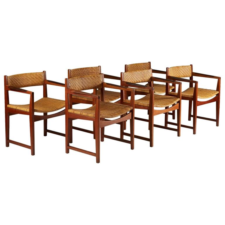 Set of Six Armchairs Designed by Peter Hvidt and Orla Mølgaard Nielsen, 1960s