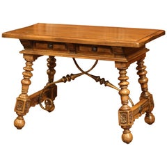 Early 20th Century Spanish Carved Walnut Writing Table with Iron Stretcher