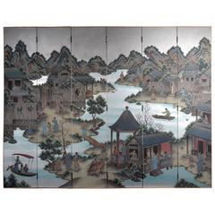 Hand-Painted Chinoiserie Six-Panel Screen