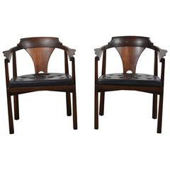Edward Wormley Pair of Horseshoe Chairs for Dunbar