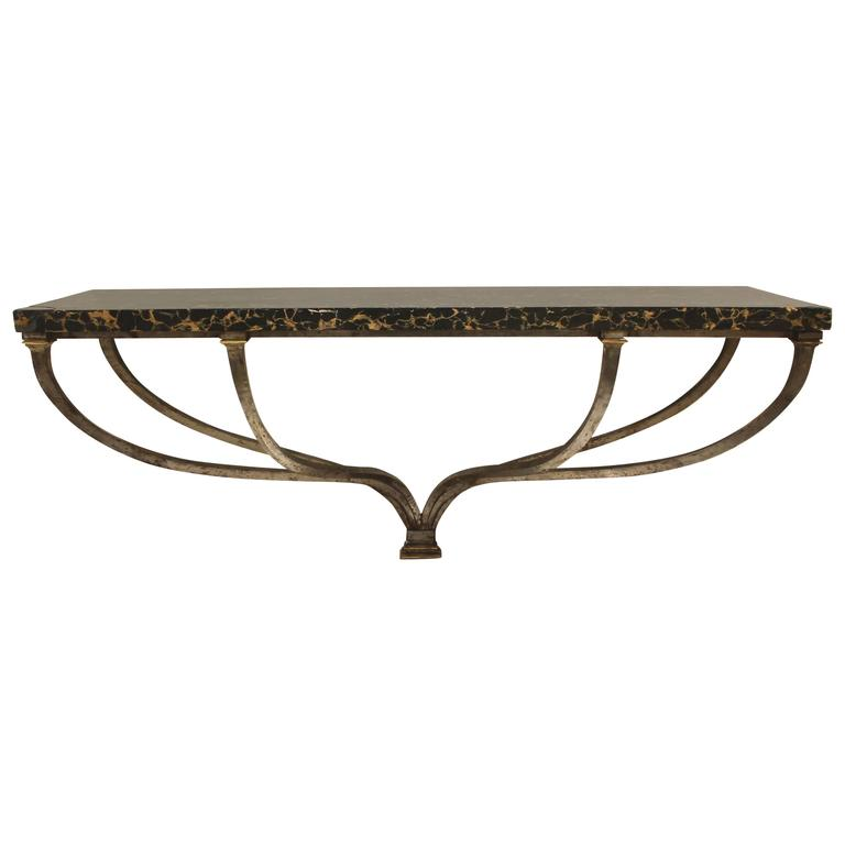 Early 19th Century Italian Console in Scagliola, Steel and Bronze