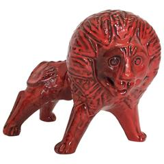 Mid-Century Bitossi Art Ceramic Lion in Red