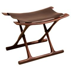 Egyptian Folding Stool by Ole Wanscher in Indian Rosewood and Black Leather