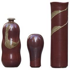 Horst Kerstan Art Pottery Red Golden Ceramic Vase Set of Three