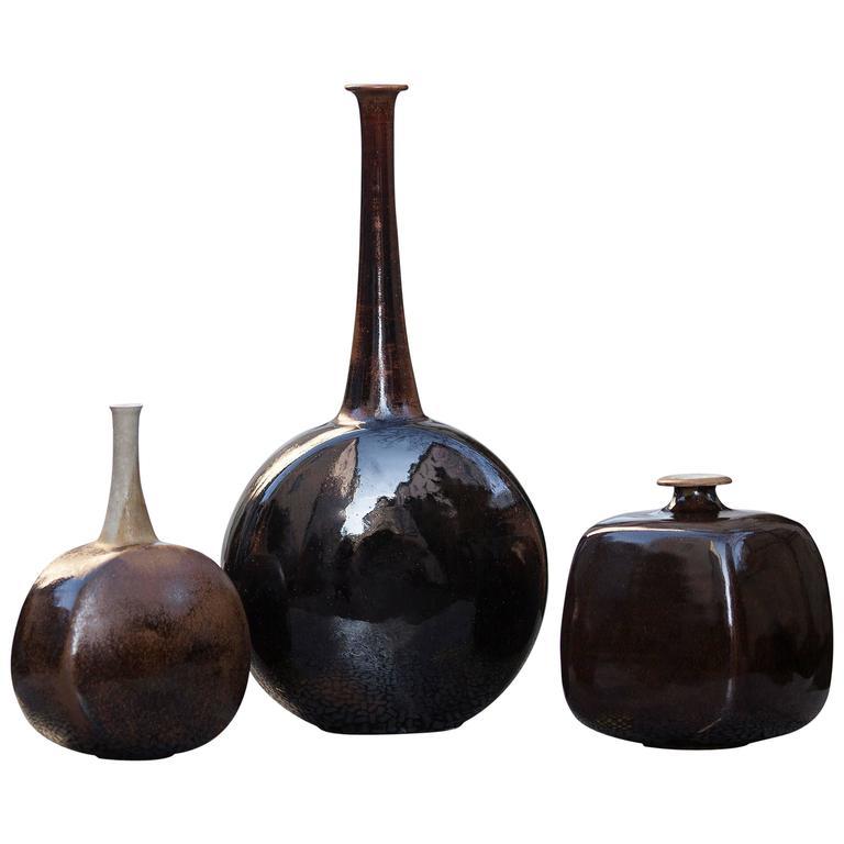 Gerald Weigel Art Pottery Brown Glazed Ceramic Vase Set of Three 1