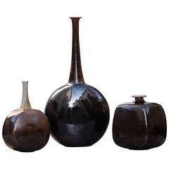 Gerald Weigel Art Pottery Brown Glazed Ceramic Vase Set of Three