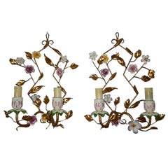1920 French Porcelain Flowers Sconces
