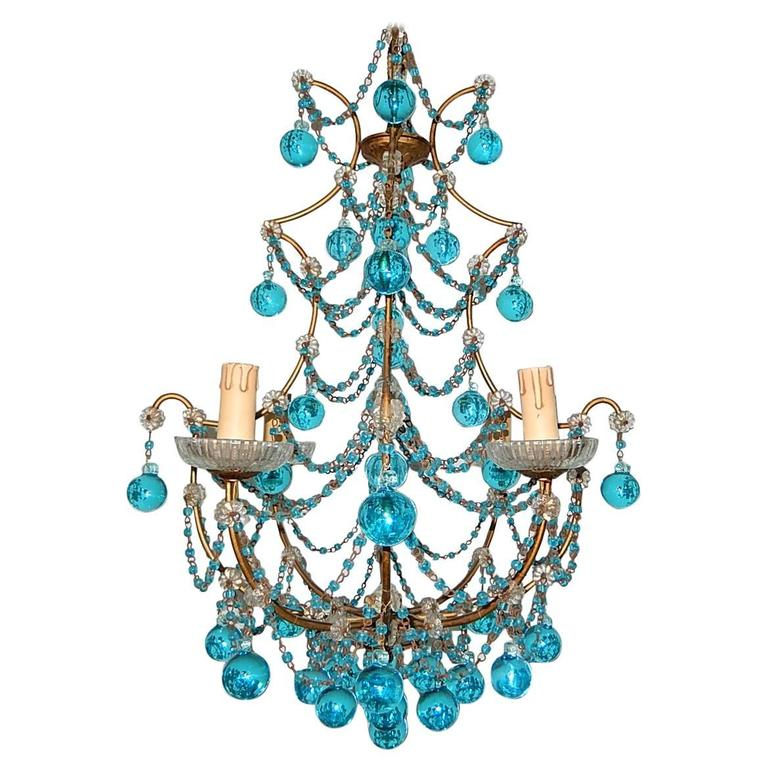 French aqua blue balls and drops crystal chandelier circa 1920 at 1920 french aqua swags and murano balls chandelier aloadofball Choice Image