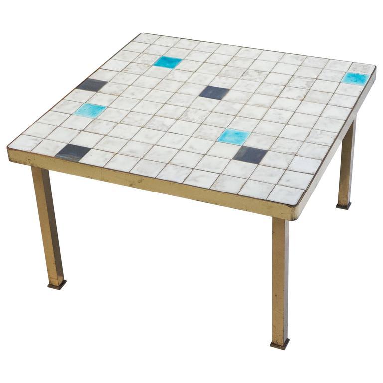 Mid-Century Ceramic Tile Side Table