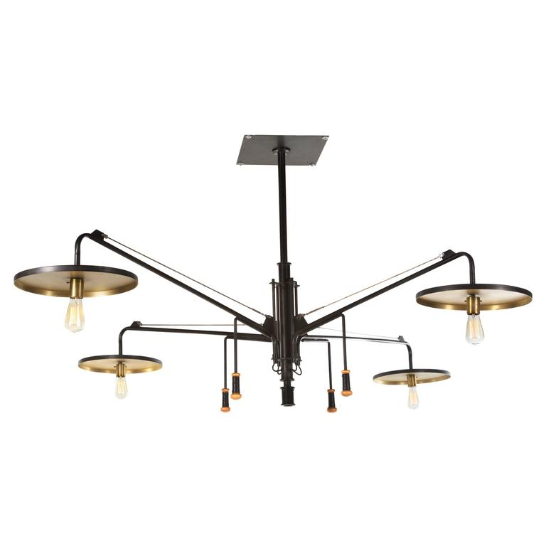 Luminaire, Monumental Custom Adjustable Four-Light Chandelier, circa 1980s 1
