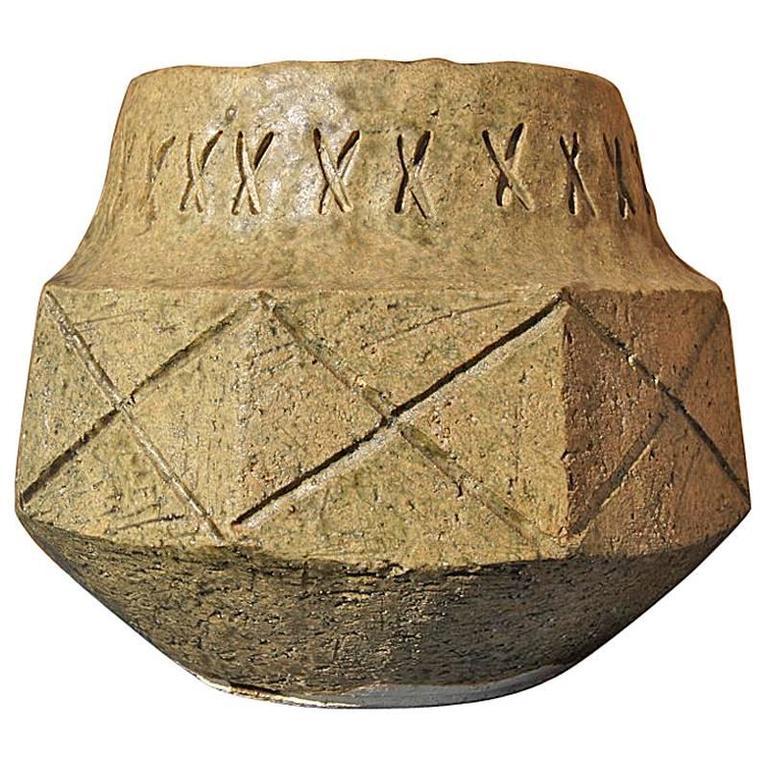 Mid-Century Japanese Artisan Stoneware Vase