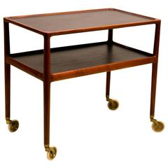 Elegant Two-Tiered Mahogany Cart on Wheels by Helge Vestergaard Jensen