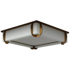 A Fine Large French Art Deco Bronze and Glass Square Flush Mount by Jean Perzel
