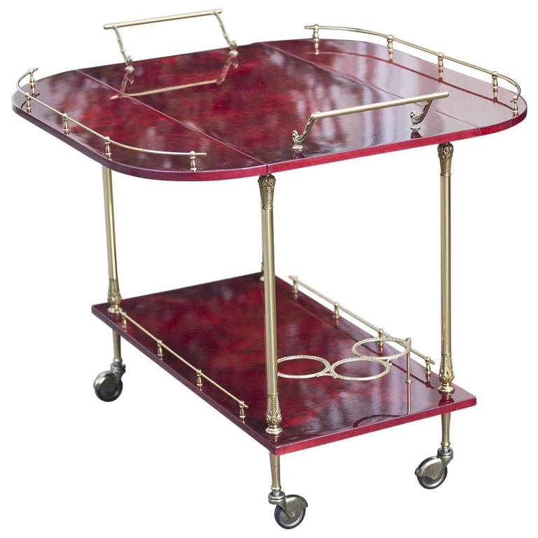 Aldo Tura Red Goatskin Bar Cart with Fold-Up Sides
