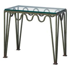 Undulating Verdigris Iron and Glass Side Table Attributed to Carl Hörvik