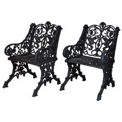 Pair of 19th Century Victorian Cast Iron Garden Armchairs with Root Style Base