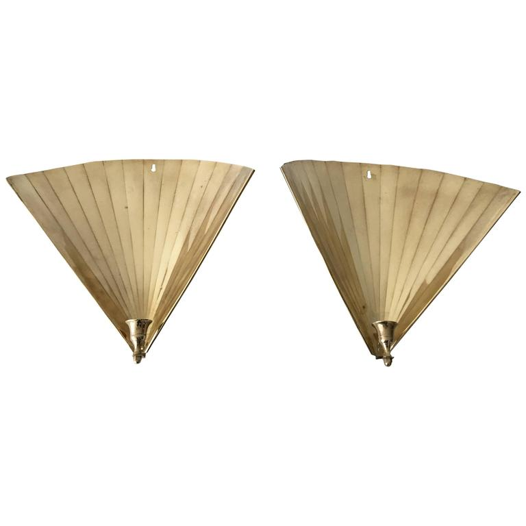 1920s Art Deco Brass Fan Shaped Candlestick Wall Sconces, Pair at 1stdibs