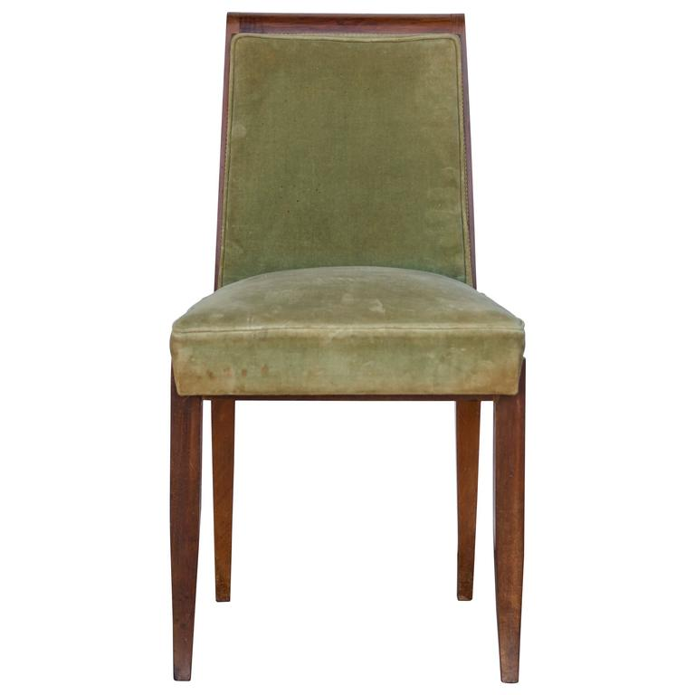 Elegant Art Deco Mahogany Side Chair in the Style of Jean Pascaud 1