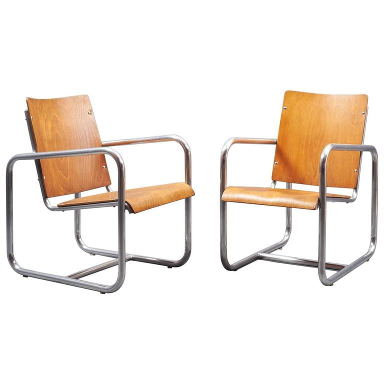 Early Modernist Pair of Nickeled Tubular Armchairs, Italy, 1930s