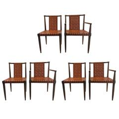 Set of Six Leather Strap Dining Chairs by Tomlinson