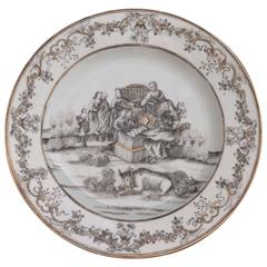 China Porcelain Plate with the Christmas in Grey and Gold, Qianlong Period