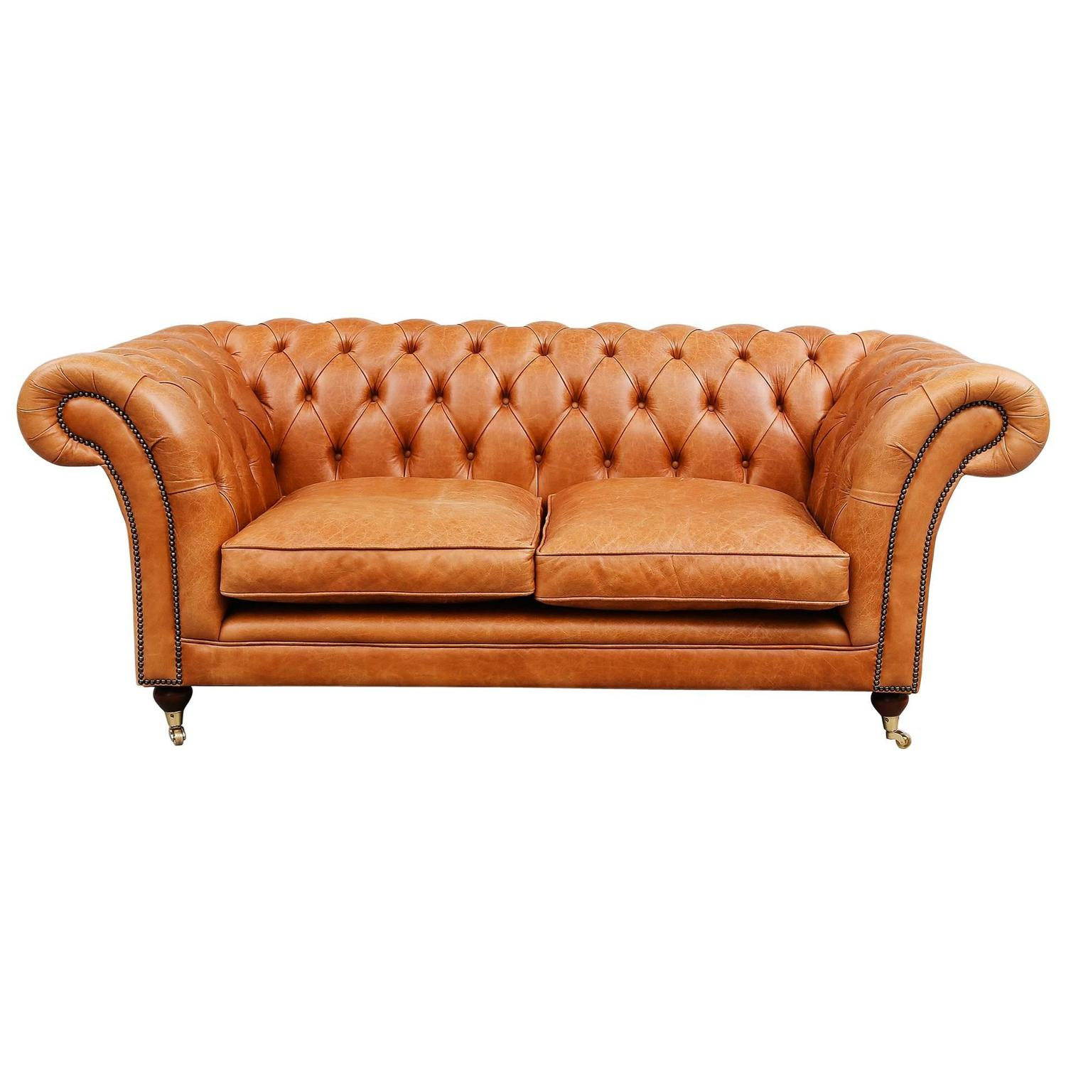 Light brown leather chesterfield sofa for sale at 1stdibs for Tan couches for sale
