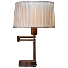 Walter Von Nessen Swing-Arm Table Lamp in Brass, American, 1950s