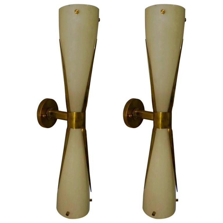 Pair of 1980 in the Manner of Max Ingrand  Italian Wall Light