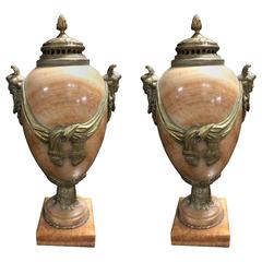 Pair 19th Century French Onyx Urns / Cassoulets with Bronze Ormolu