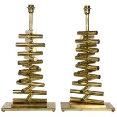 Pair of Table Lamps All in Brass