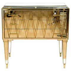 Italian Commode in Mirror and Brass with Three Drawers