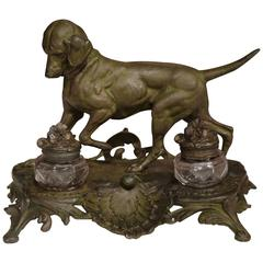 19th Century French Louis XV Patinated Spelter Inkwell with Hunting Dog