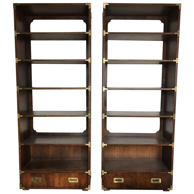 1970s Vintage Campaign Bookshelf Units By Henredon At 1stdibs